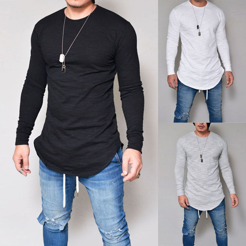 Men/'s Casual Slim Fit V Neck Tops Blouse Long Sleeve Muscle Tee Cotton T-shirt