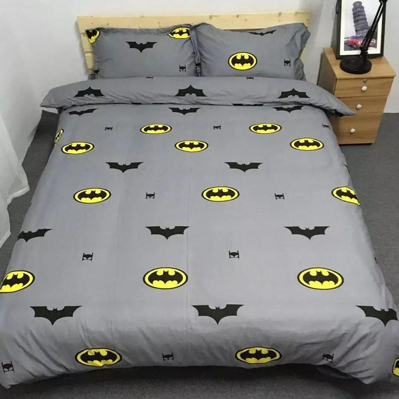 Boys Batman Bedding Set Kids Simple Fashion Duvet Cover Bed Sheet Pillowcas