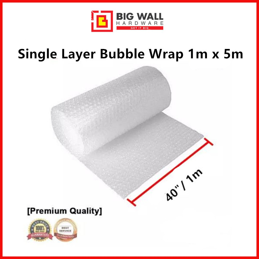 Black / Transparent Bubble Wrap 1m x 5m/10m (Length) High Quality Bubble Single Layer [Big Wall Hardware]