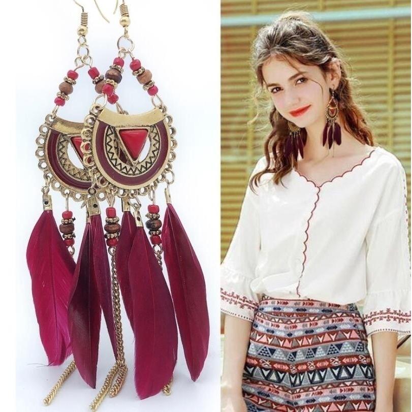 0d589925ca3cf Women Girls Ladies Vintage Ethnic Bohemia Luxury Feather Drop Earrings