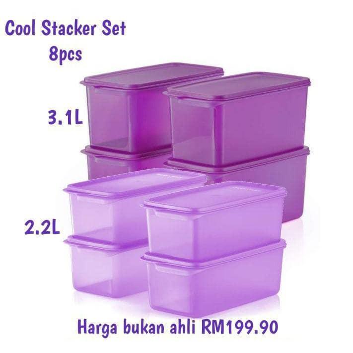 Tupperware Purple / Light Purple / Ungu Cool Stacker Set Container Set Bekas Storage