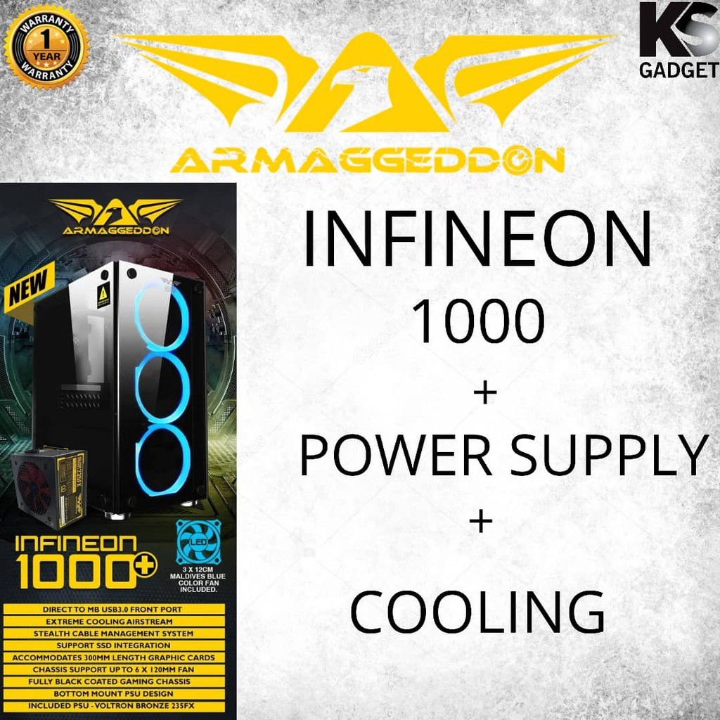 Armaggeddon Infineon 1000 Micro ATX Gaming PC Case with Power Supply and  Cooling