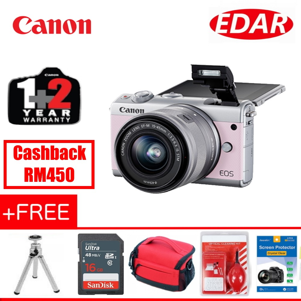 Canon Eos M100 Pink Only 15 45mm Kit Lens