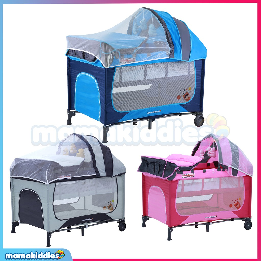 bda1c01d0569 BABY A Portable Foldable Baby Separated Bed With Music-Grey