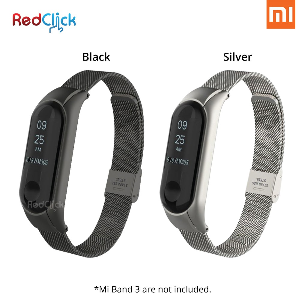 Xiaomi Mi Band 3 Stainless Steel Clip Wristband Strap Shopee Malaysia 2 Oled Replacement Mijobs Silver