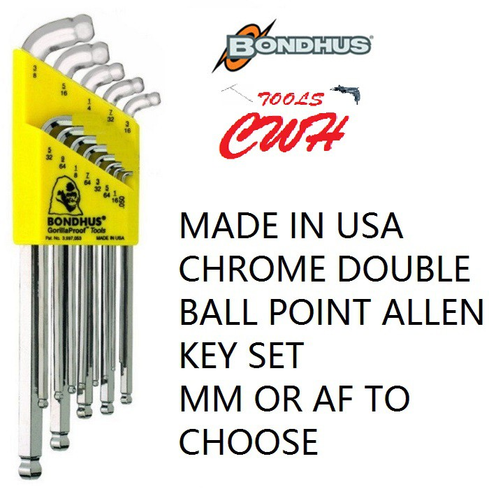 BONDHUS USA CHROME DOUBLE BALL POINT END HEX ALLEN KEY HEXAGON DRIVER SET SDBLX13BXL SDBLX9MBXL