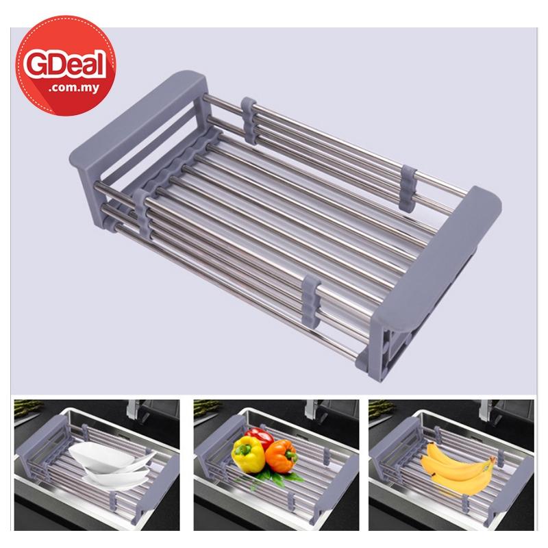GDeal Stainless Steel Retractable Kitchen Dish Vegetable Fruit Drain Rack Bekas Basuhan بكس باسوهن
