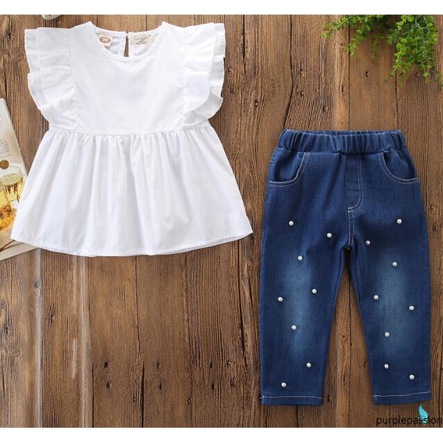 eb09d81871b74 ➹-Kids Baby Girl Cotton Top Ruffle sleeve T-shirt Denim Pearl Pants Outfits