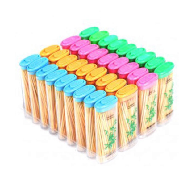 Bamboo Toothpick Lighter Tube Lighters Model toothpick Double-Side Sharp Toothpick 24 TUBES