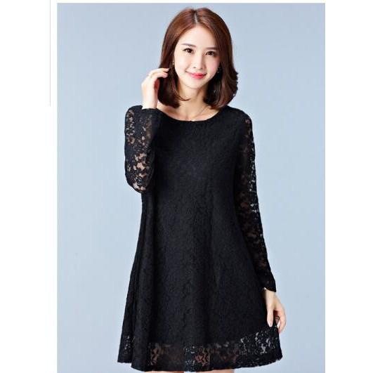 b134d89558f94 6XL Plus Size Women Tops&Dress Lacce Loose Blouse Fashion Party Ready Dress