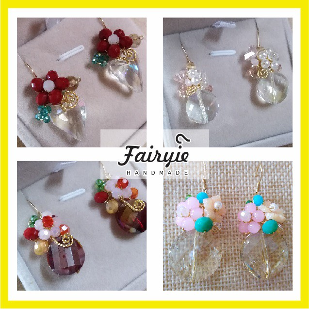 Floral wire Wrapped Crystal Earrings