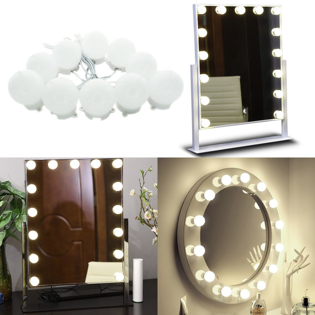 Hollywood Vanity Lights For Big Makeup Linkable 10 Dimmable Bulbs Neutural White Shopee Malaysia