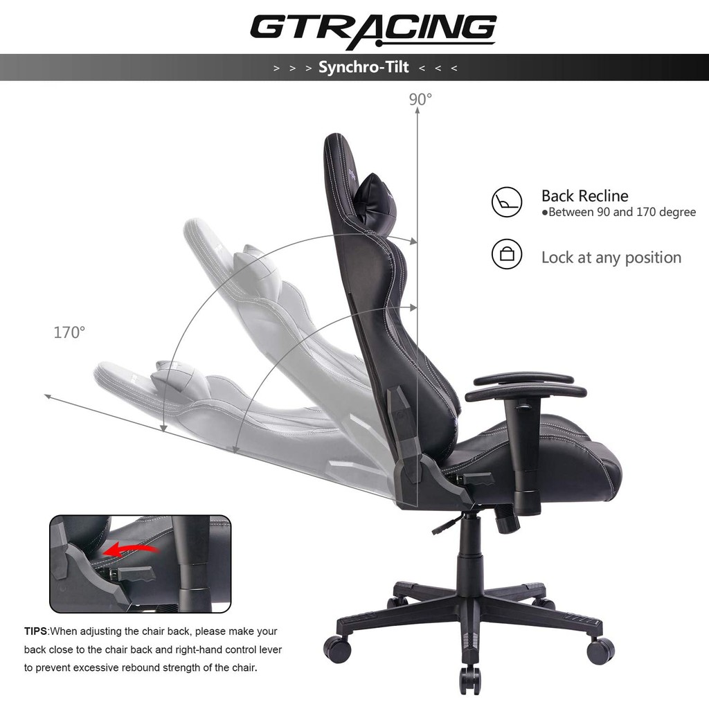 Picture of: Gtracing Gaming Chair Racing Chair Pu Leather Ergonomic High Back Adjustable Height Professional E Sports Chair Black Shopee Malaysia