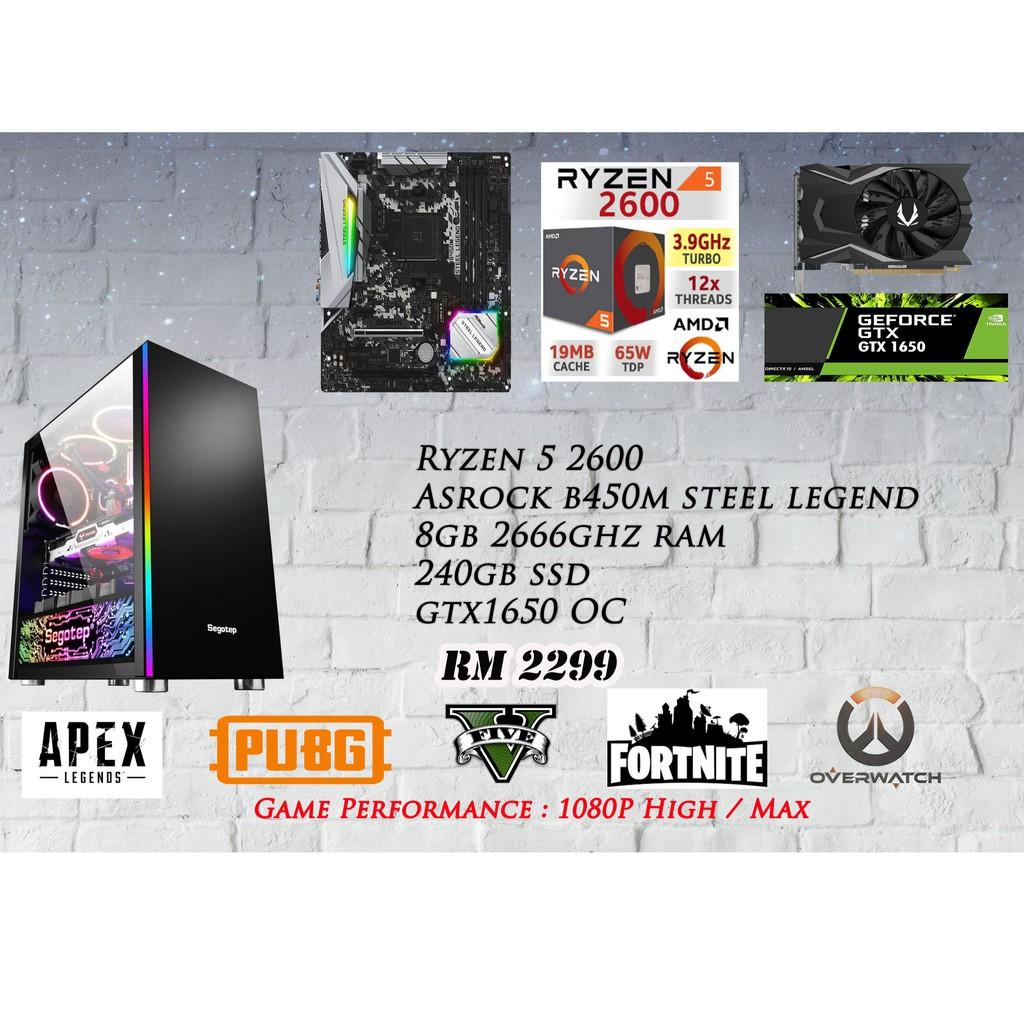 Ryzen 5 2600 Gaming PC GTX1650/8BG/240GB