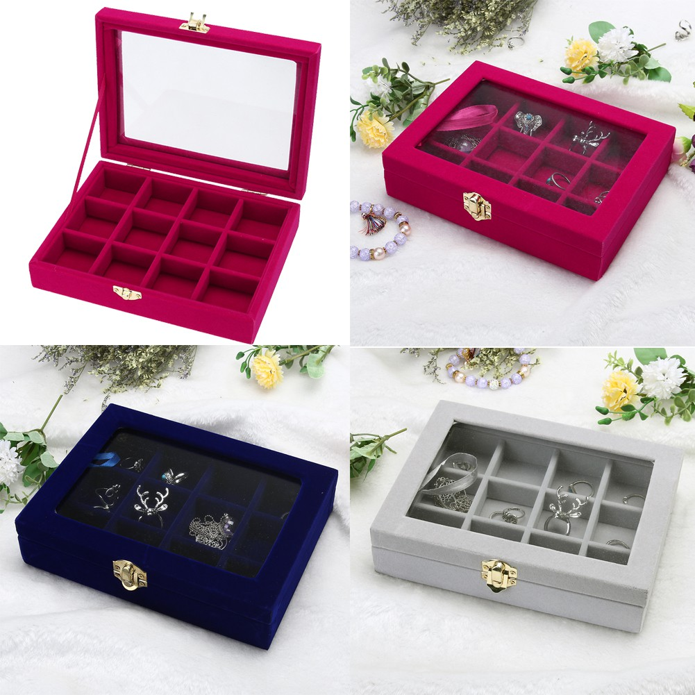 cde4bc37b ProductImage. ProductImage. Velvet Glass Jewelry Display Box Tray Holder  Storage Box Organizer