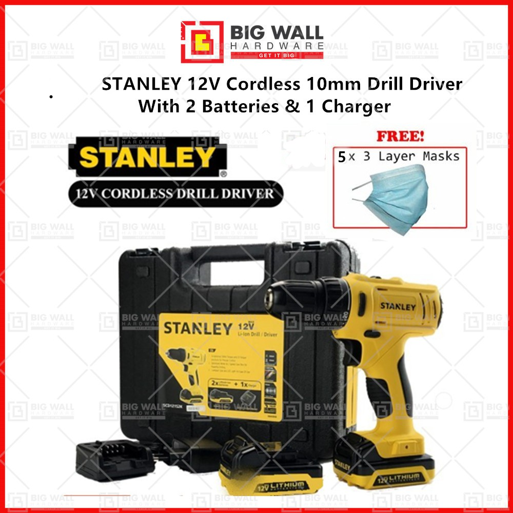 STANLEY 12V Cordless 10mm Drill Driver With 2 Batteries & 1 Charger SCD121S2K-B1 (SCD121S2K/SCD12S2) (2 YEARS WARRANTY)