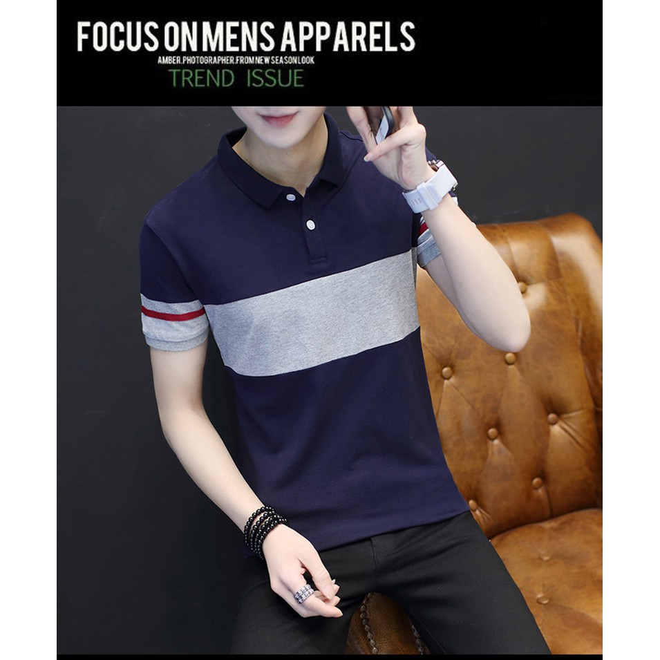 yycmn🔥HotSale🔥ReadyStock🔥 casual fashion short-sleeved men's Polo fir  stripes Contrast color matching simple style