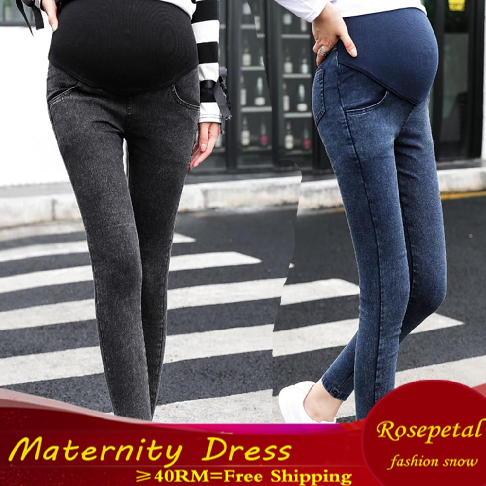 00c7f6c8cfd7b Elastic Waist Winter Jeans Pant Women clothing Pregnancy Clothes | Shopee  Malaysia