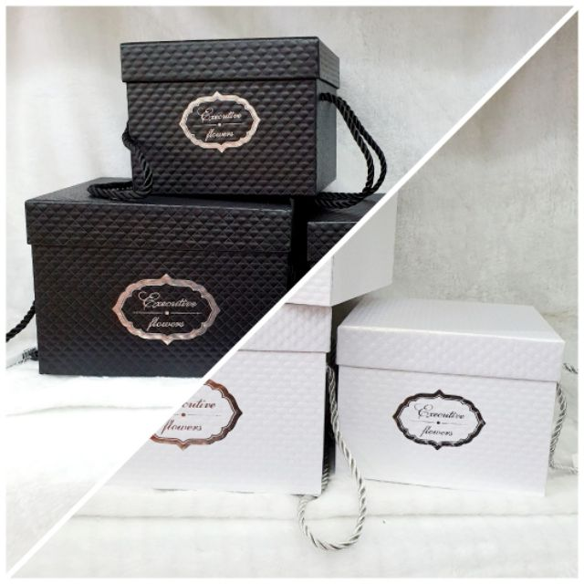 🎁 Premium Quality Gift Box Square 3D surface with HANDLE Size S, M and L (1 pcs) 🎁