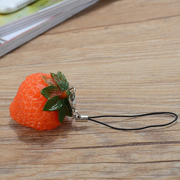 【New Arrived】Soft Squishy Cute Fruit Strawberry Key Chain Phone Strap Charm