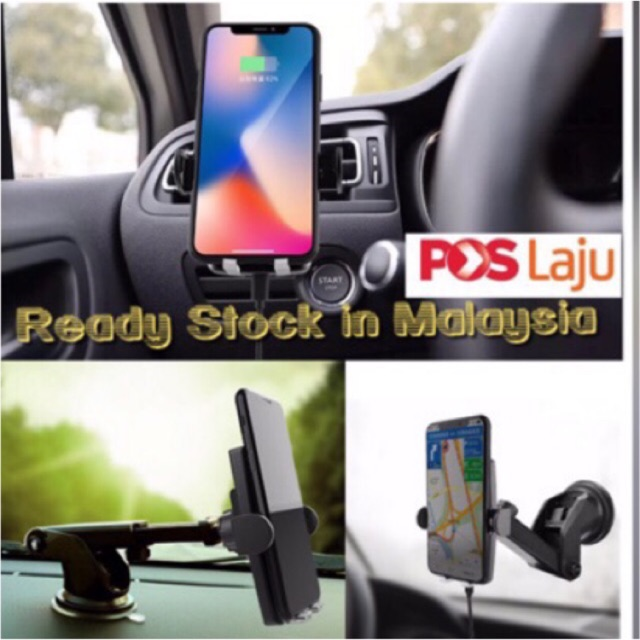 Green Fish auto detect Clip Wireless Charging Car Phone Holder LED LIGHT ready 1 | Shopee
