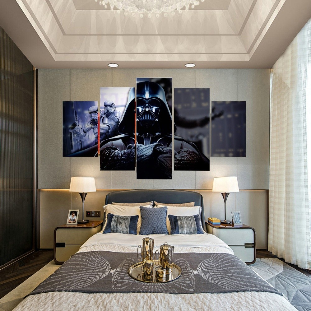 5 Pcs The Darth Vader Wall Art Picture Modern Home Decoration Living Room Shopee Malaysia