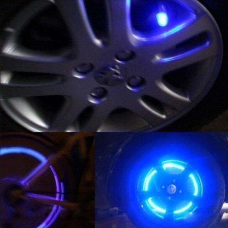 2x Auto Accessories Bike Supplies Neon Blue Strobe LED Tire Valve Cap Multicolor