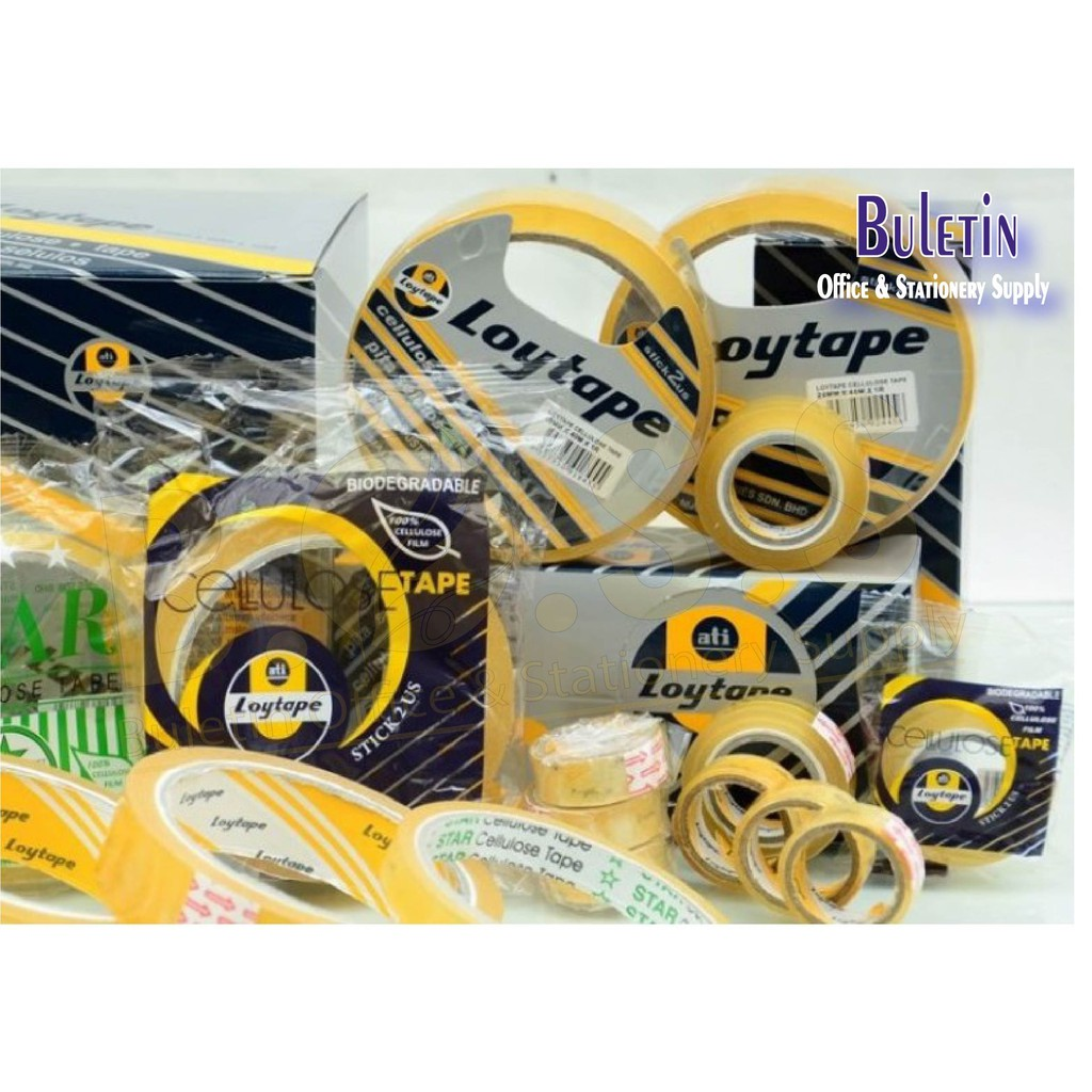 Loytape Cellulose Tape 12mm, 18mm, 24mm / 15yards / 40M