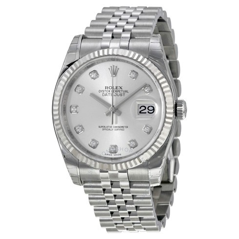ROLEX Oyster Perpetual 36 mm Silver Dial Stainless Steel Automatic Bracelet Men's Watch