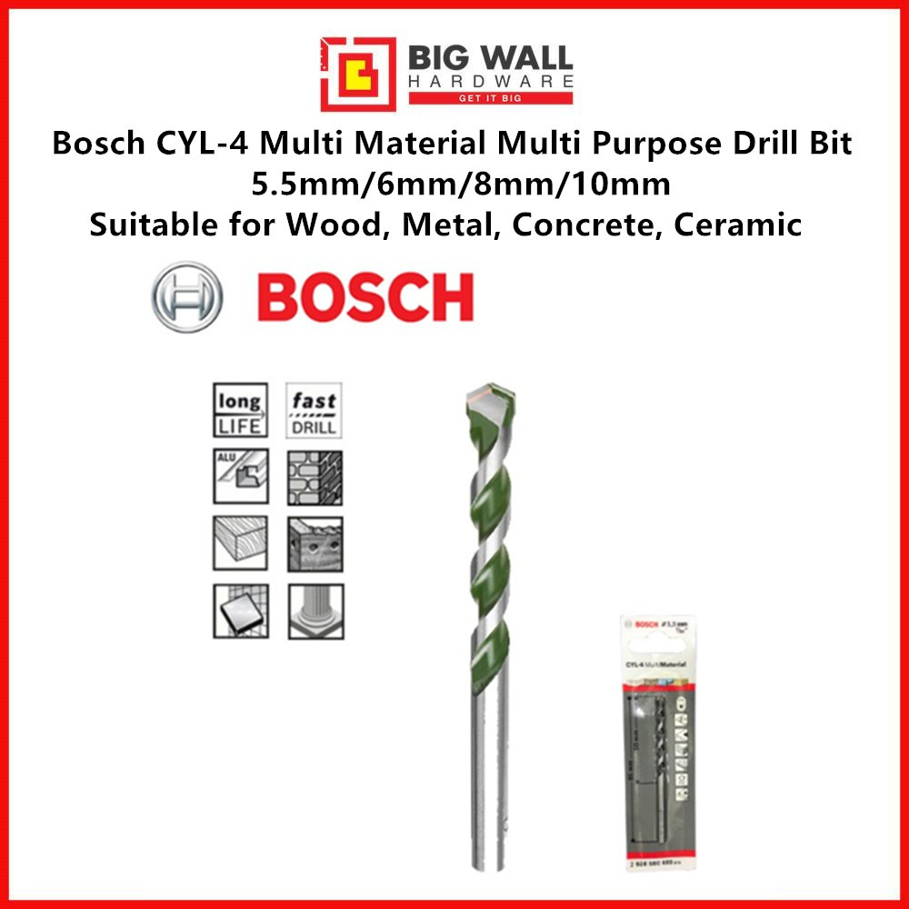 Bosch CYL-4 Multi Material Multi Purpose Drill Bit 5.5mm/6mm/8mm/10mm for Wood, Metal, Concrete, Ceramic
