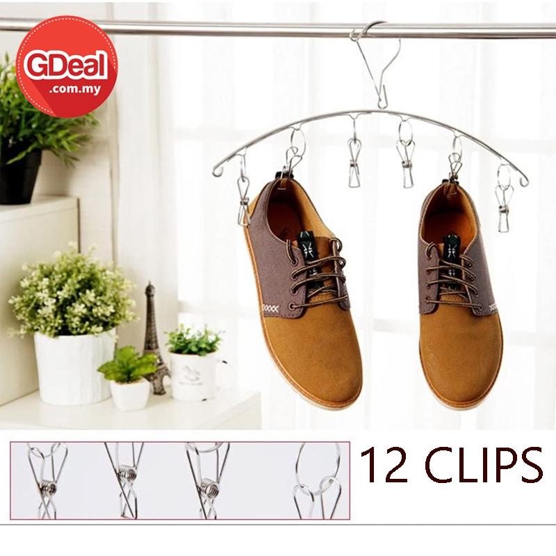 GDeal 12 Clip Stainless Steel Socks Hanger Underwear Laundry Dryer Rack Penyangkut Pakaian ڤڽاڠكوت ڤاكاين