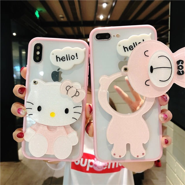 new arrival 2bb93 3fc70 Casing iPhone 6 6s 7 8 Plus Hello Kitty Mirror Clear Phone Case Cover