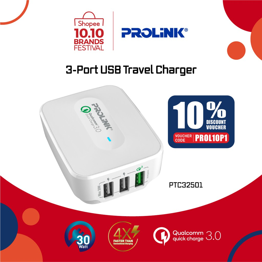 PROLiNK 3-Port USB Qualcomm Quick Charge 3.0 Travel Charger Fast Charging Advanced Protection (30W) PTC32501