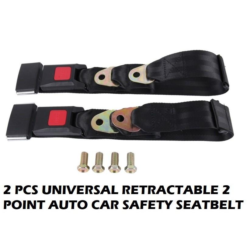 2pcs Universal Retractable 3 Point Auto Car Safety Seat Lap Belt Strap Set Kit