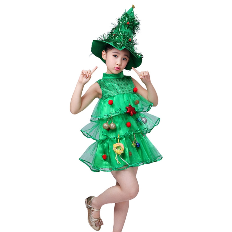Toddler Christmas Tree Costume.Kids Girls Christmas Tree Costume Dress Toddler Santa Claus Party Costume Suit With Hat
