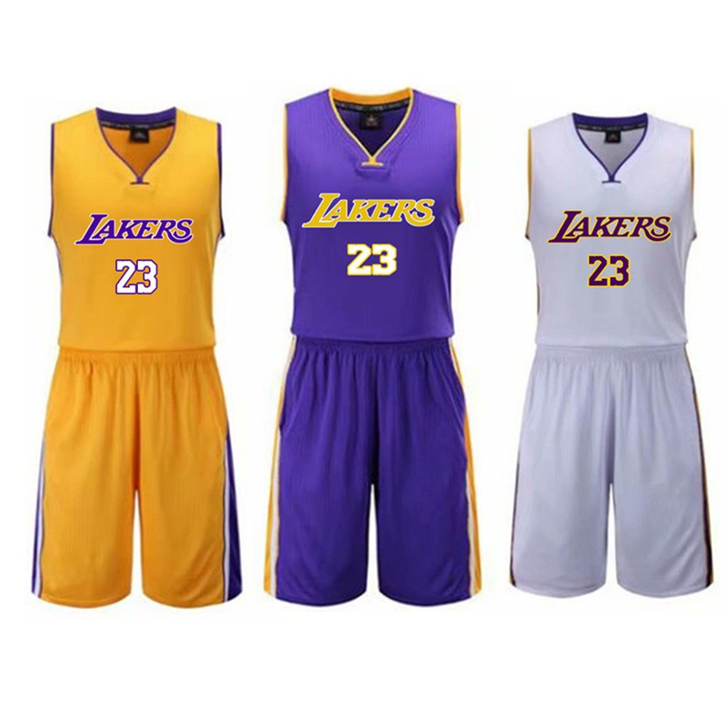 sale retailer b5407 80abf Los Angeles Lakers #23 LeBron James Jersey Adult Kids Basketball Vest  Shorts Set