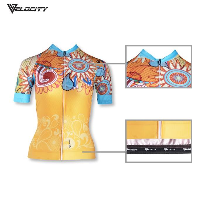[READY STOCK]Velocity Lady Short Cycling Jersey-yellow flower