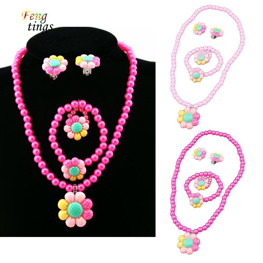 0d367dc96cc65 ♥Flower Artificial Pearls Kids Girls Earrings Bracelet Necklace Ring  Jewelry Set
