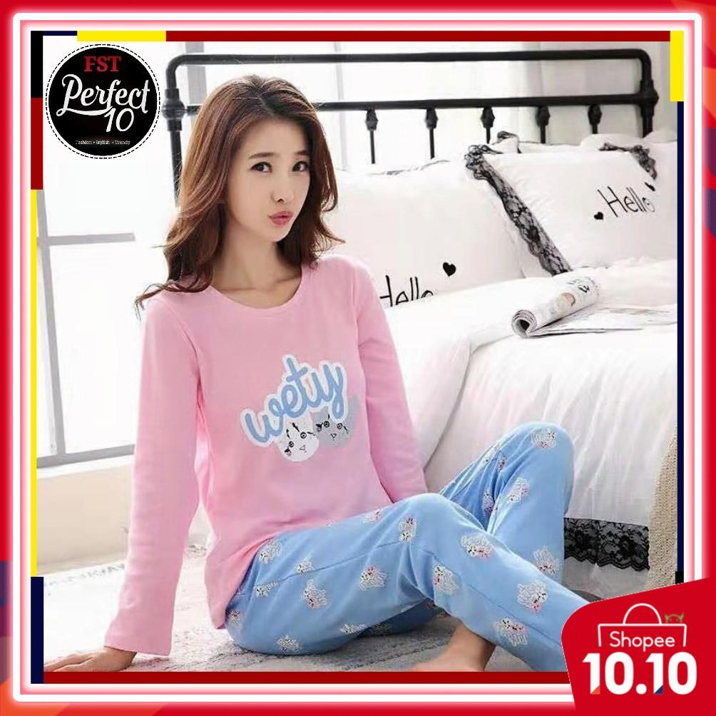 FST Silk Fabric Long Sleeve and Long Pant Wety Cat Pyjamas / Set Baju Tidur Elegant design [6044]