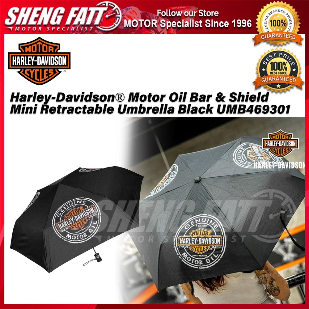 Harley-Davidson® Motor Oil Bar & Shield Mini Retractable Umbrella Black UMB469301