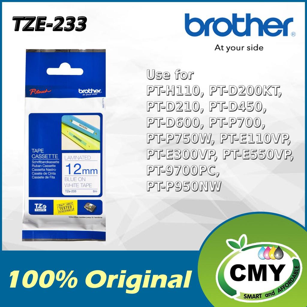 Brother Original TZe-233 12mm Blue on White D200KT D210 D450 D600 P700
