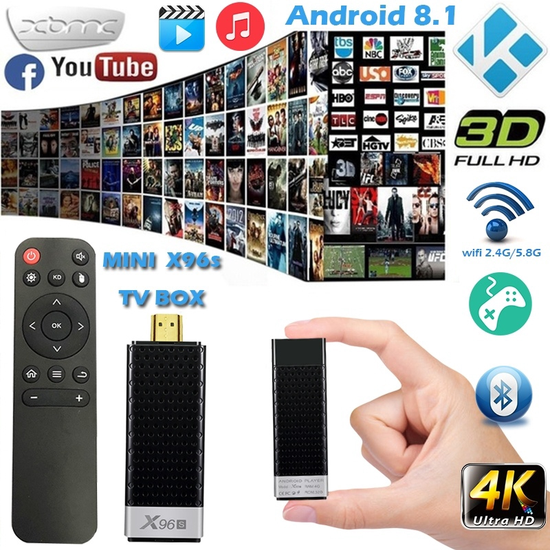X96s Android 8 1 HDMI 2 1 Quad-Core Mini TV Box 4G-RAM 32G-ROM 2 4G/5G WiFi  Bluetooth Media Player Set Top Box