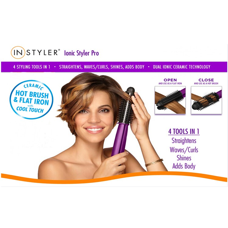 *SHIP 1DAY from MALAYSIA* 4 in 1 InStyler Ionic Styler Pro Hot Brush and Ceramic Hair Straightener Curler M\'sia Plug