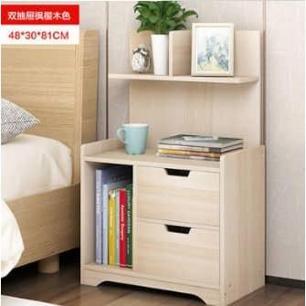 MALAYSIA :MEJA KAYU SAIZ 48x30x81 CM / Modern Style Bedside storage Table With Shelf Night Stand Books Sundries Cabinet