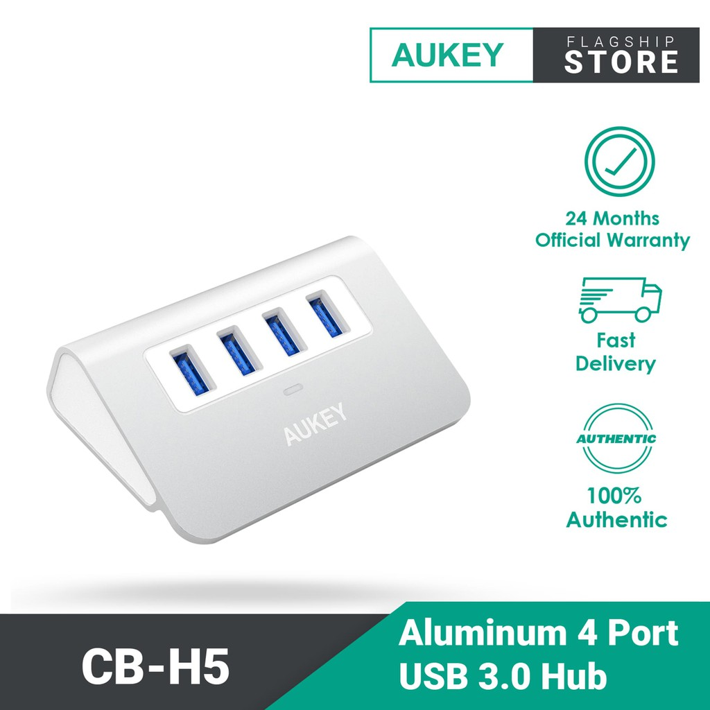 Aukey CB-H5 Aluminum 4 Port USB 3.0 Desk Hub