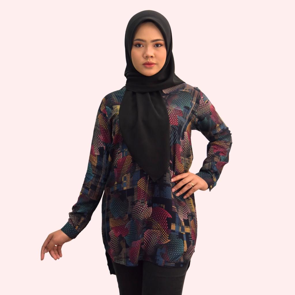MARIAH Floral Prints Blouse Muslimah - Blouse Cotton Labuh - Premium - Long Sleeves Lengan Panjang