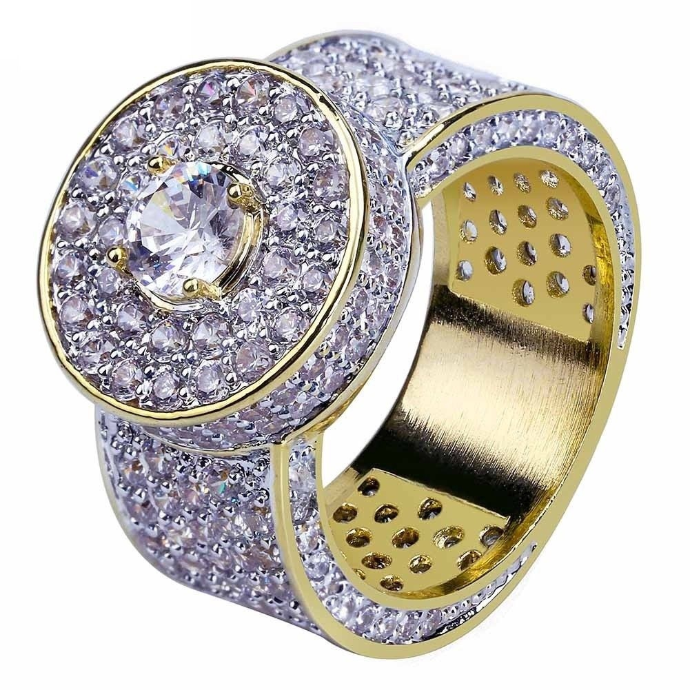 e9f9a9bace246 18k Gold Plated ring Simulated Diamond Micro Pave ring wedding band unisex  Jewelry Hip-pop StyleSize 5-10