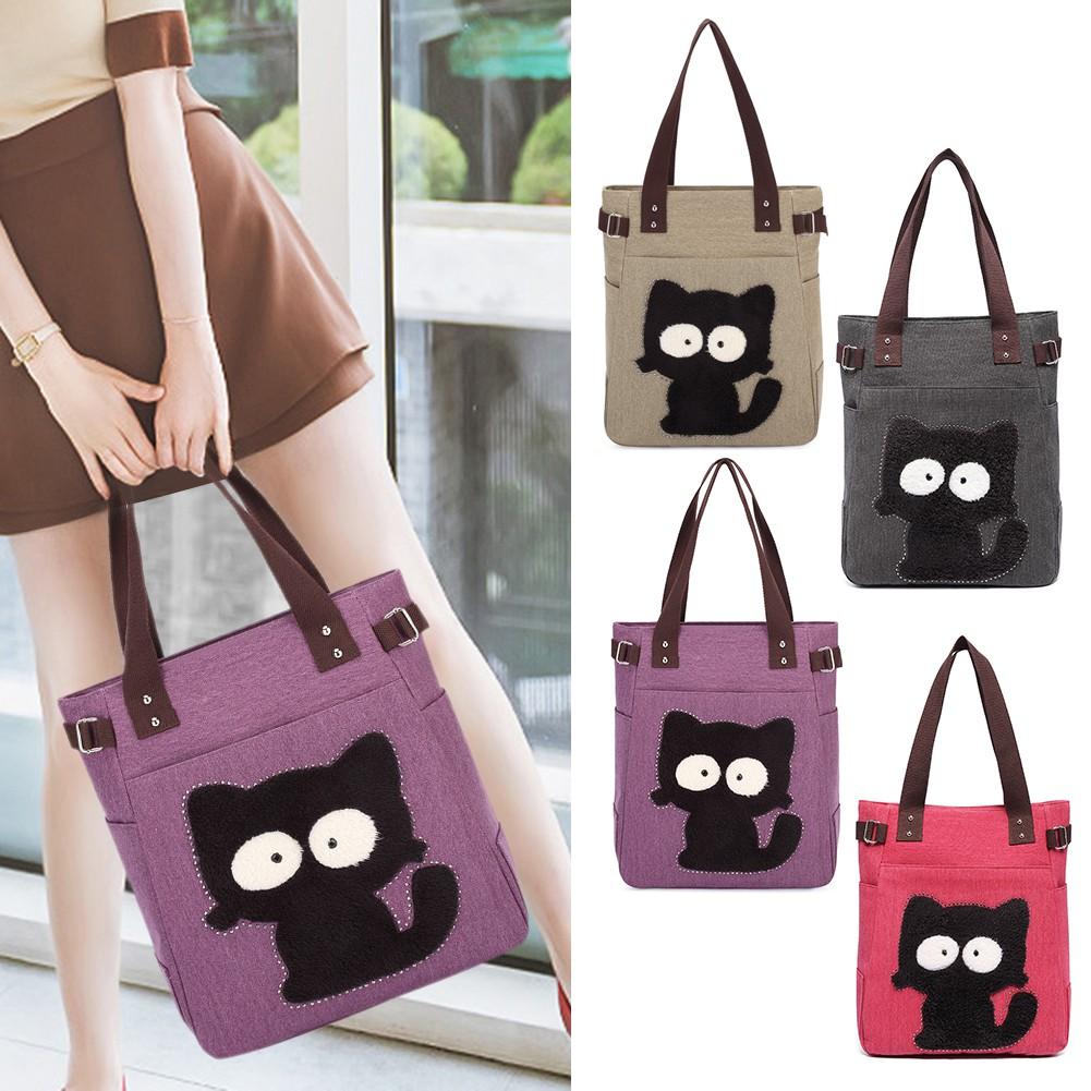83c0c78413e21 ProductImage. ProductImage. Canvas Cute Cat Pattern Shoulder Handbags Women  Large Totes Shopping Bags