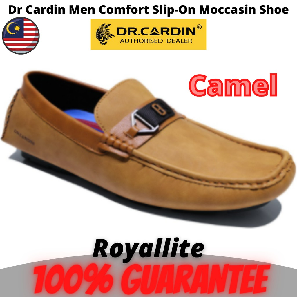 Dr Cardin Men Faux Leather Comfort Slip-On Moccasin Shoe (AMV-60852) Navy & Camel