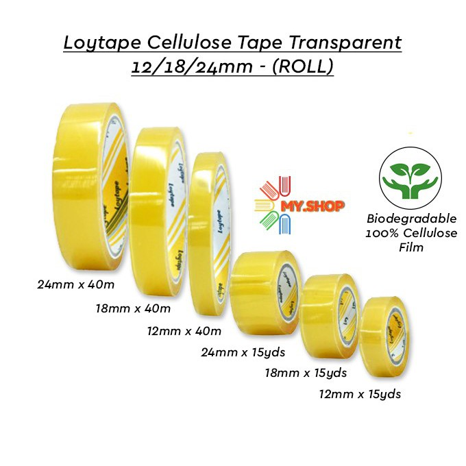 Loytape Cellulose Tape 12mm,18mm,24mm price per roll